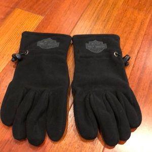 Men's Harley-Davidson fleece gloves leather palm